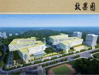 未来医院建筑设计鸟瞰效果图 JPG