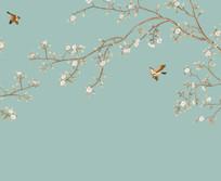 新中式花鸟山水背景墙