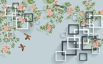 新中式几何缠枝背景墙