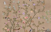 新中式玫瑰花山水画背景墙