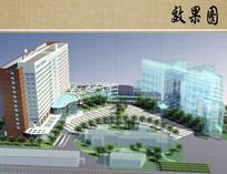 医院病房楼方案设计鸟瞰图