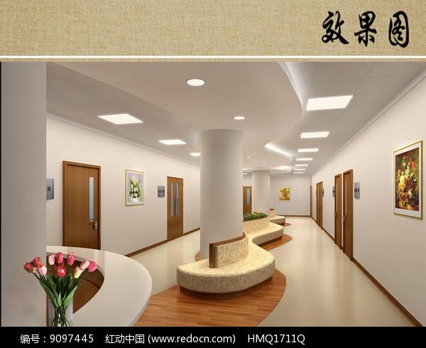 医院病房走廊效果图图片