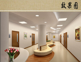 医院病房走廊效果图