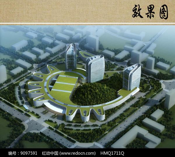 医院建筑设计概念鸟瞰图