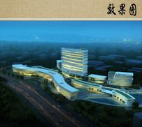 医院建筑设计夜景效果图 JPG