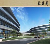 医院中心景观庭院透视图