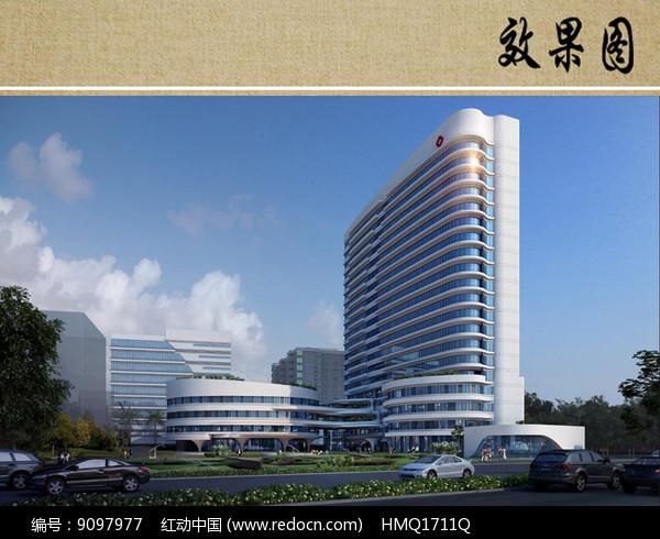 原创设计稿 效果图库/视频展示 医院疗养 医院住院部大楼建筑效果图图片