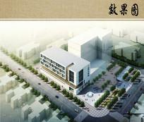 医院综合楼鸟瞰透视图 JPG