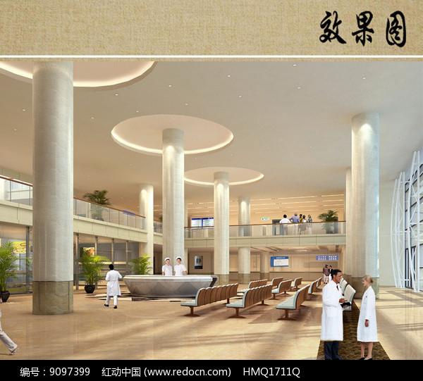 医院综合楼室内大厅透视图图片