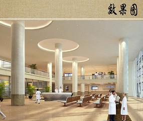 医院综合楼室内大厅透视图