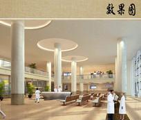 医院综合楼室内大厅透视图 JPG
