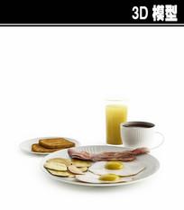 早餐套餐3D模型
