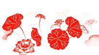 中国风剪纸荷花循环动画