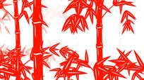 中国风剪纸竹子循环动画