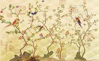 中式花鸟缠枝福气背景墙