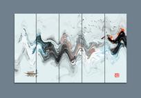 江南水乡抽象湖泊山峰画