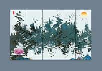 墨染线条意境抽象画