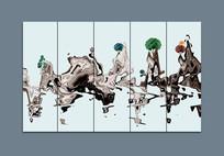条屏抽象意境中式水墨山水画