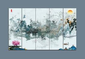 新中式山水条屏客厅挂画
