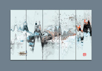 新中式条屏办公室装饰画
