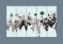 中国风条屏禅意画装饰画