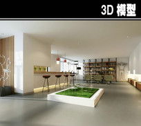 白色简约茶馆吧台模型