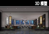 壁画中式风茶馆大厅模型