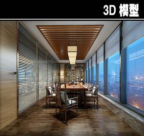 长方形中式茶馆包厢模型