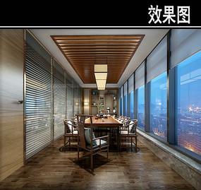 长方形中式茶馆包厢效果图