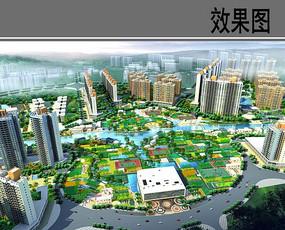 城市绿地规划设计鸟瞰图