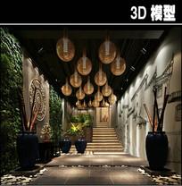 传统中式茶馆入口模型