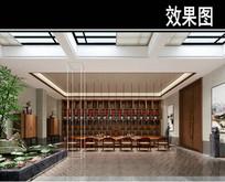 传统中式大厅茶馆效果图
