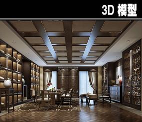典雅中式风茶馆办公室模型