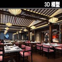 粉色桌椅中式茶餐厅模型