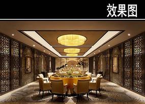 复古中式茶餐厅大包厢效果图