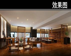 古典中式茶馆包厢效果图