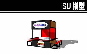 红黑汉堡售卖亭SU模型