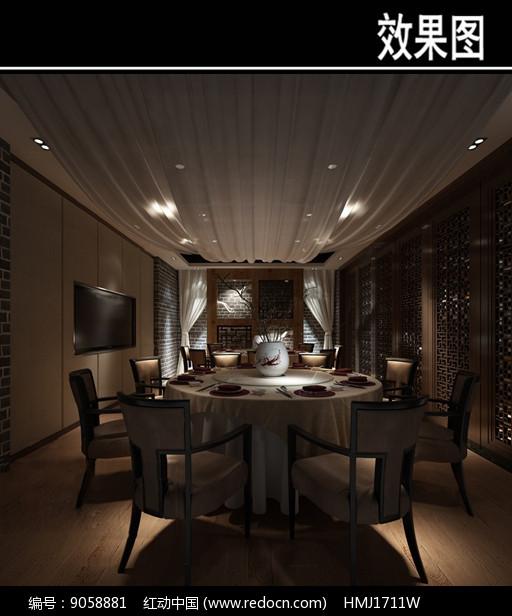 灰色墙砖中式茶餐厅包厢效果图图片