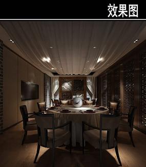 灰色墙砖中式茶餐厅包厢效果图