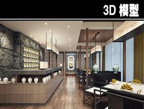混搭风茶餐厅四人座位模型