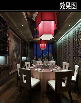 混搭风红色灯茶餐厅包厢效果图
