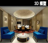 混搭风蓝色椅子茶楼包厢模型