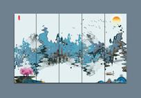 江南水墨山水装饰画