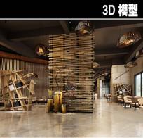 木头元素现代茶餐厅模型