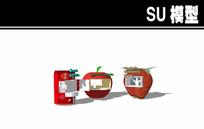 苹果可乐草莓形状售卖亭SU skp