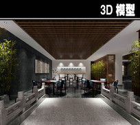 桥装饰中式茶馆模型