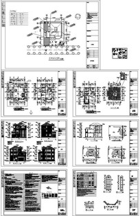 三层别墅施工图CAD