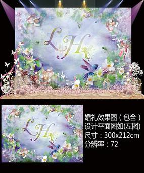水彩婚礼舞台背景板