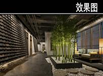 屋顶瓦墙竹子茶馆等待区效果图