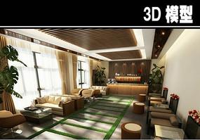 现代风茶馆大厅模型